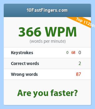 Words per minute?